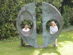 Barton and Megan in the gardens at Cambridge, UK.